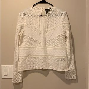 Anthropologie lace front cropped shirt